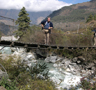 Himalayan aerial bridge. The Trisuli river. Pictures of Himalaya