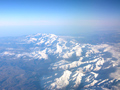 View of Himalayas from the airplane