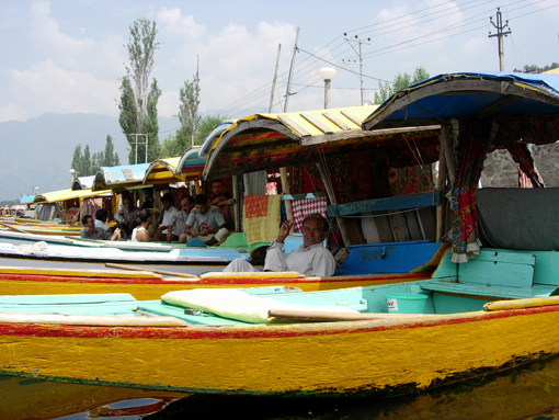 The working boats shikaras are the most popular transport on the Dal Lake